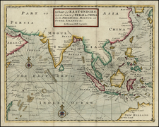 China, India, Southeast Asia, Philippines and Other Islands Map By Herman Moll