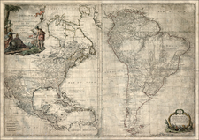 North America, South America and America Map By Maurille Antoine Moithey / Jean-Baptiste Crepy