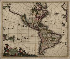 South America, Australia, Oceania, California and America Map By Justus Danckerts