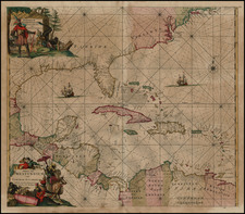 Florida, South, Southeast, Caribbean and Central America Map By Frederick De Wit