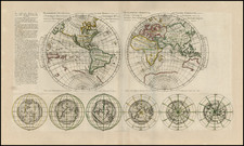 World and Polar Maps Map By Pierre Moullart Sanson