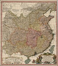 Asia, China, Central Asia & Caucasus and Russia in Asia Map By Johann Matthaus Haas