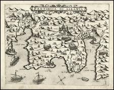 Balkans and Mediterranean Map By Giovanni Francesco Camocio