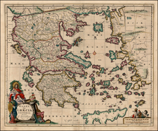 Greece, Mediterranean and Balearic Islands Map By Nicolaes Visscher I