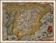 Spain and Portugal Map By Cornelis de Jode