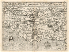 North Africa and West Africa Map By Giovanni Battista Ramusio / Giacomo Gastaldi