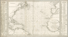 Atlantic Ocean and United States Map By Depot de la Marine