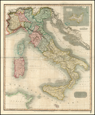 Italy, Mediterranean and Balearic Islands Map By John Thomson