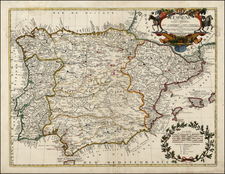 Spain and Portugal Map By Jean-Baptiste Nolin