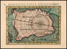 Southern Hemisphere, Polar Maps and Australia Map By Petrus Bertius