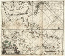 Mid-Atlantic, Southeast, Caribbean and Central America Map By Jacobus Robijn