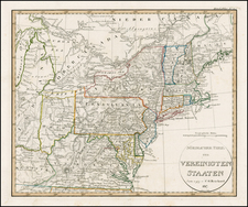 United States, Mid-Atlantic and Midwest Map By Adolf Stieler