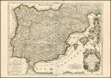 Spain and Portugal Map By Jean-Baptiste Crepy