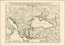 Ukraine, Romania, Balkans, Greece, Turkey, Mediterranean and Turkey & Asia Minor Map By Guillaume De L'Isle