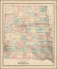 Plains, North Dakota and South Dakota Map By Samuel Augustus Mitchell Jr.