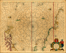 New England, Mid-Atlantic, Caribbean, South America and Brazil Map By Anthonie (Theunis)   Jacobsz