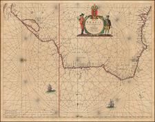 Brazil Map By Caspar  Lootsman / Anthonie (Theunis)   Jacobsz