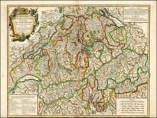 Switzerland Map By Gilles Robert de Vaugondy
