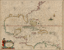 Mid-Atlantic, Florida, South, Southeast, Texas, Mexico, Caribbean and Central America Map By Anthonie (Theunis)   Jacobsz