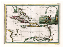 Southeast and Caribbean Map By Giovanni Maria Cassini