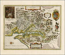 Mid-Atlantic and Southeast Map By Henricus Hondius