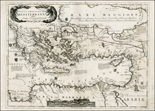 Balkans, Greece, Mediterranean, Balearic Islands, Holy Land and Turkey & Asia Minor Map By Vincenzo Maria Coronelli
