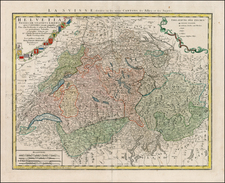 Switzerland Map By Johann Baptist Homann
