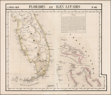 Florida, Southeast and Caribbean Map By Philippe Marie Vandermaelen