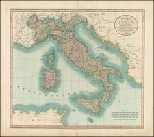 Italy, Mediterranean and Balearic Islands Map By John Cary
