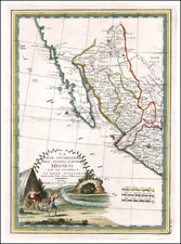 Texas, Southwest, Baja California and California Map By Giovanni Maria Cassini