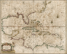 United States, Mid-Atlantic, Florida, Southeast, Texas, Caribbean and Central America Map By Hendrick Doncker