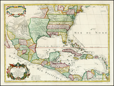 United States, South, Southeast, Texas, Southwest, Rocky Mountains and Caribbean Map By Jean André Dezauche