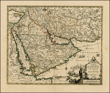 Central Asia & Caucasus and Middle East Map By Covens & Mortier / Pieter van der Aa