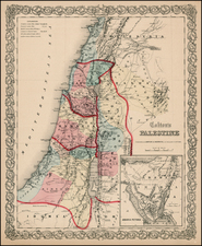 Holy Land Map By Joseph Hutchins Colton