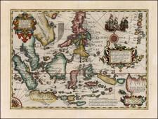 Asia, Southeast Asia, Philippines, Australia & Oceania and Oceania Map By Jodocus Hondius