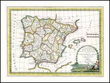 Spain and Portugal Map By Giovanni Maria Cassini