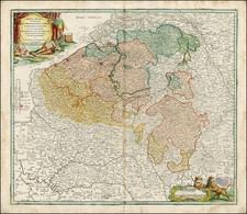 France and Germany Map By Johann Baptist Homann