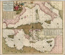 Balkans, Italy, Spain, Greece, Turkey, Mediterranean, Balearic Islands, Turkey & Asia Minor and North Africa Map By Gerard Van Keulen
