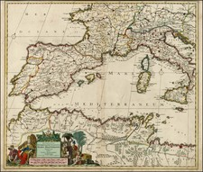 Italy, Spain, Mediterranean, Balearic Islands and North Africa Map By Justus Danckerts