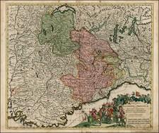Switzerland, France and Italy Map By Cornelis II Danckerts