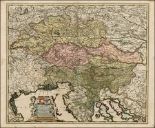 Austria, Balkans and Italy Map By Frederick De Wit