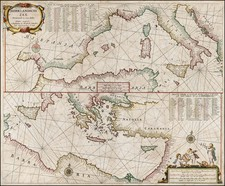 Italy, Spain, Greece, Turkey, Mediterranean, Balearic Islands, Turkey & Asia Minor and North Africa Map By Hendrick Doncker