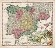 Spain and Portugal Map By Johann Baptist Homann