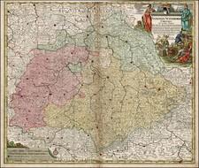 Germany and Czech Republic & Slovakia Map By Matthaus Seutter