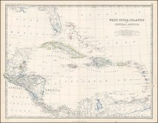 Southeast, Caribbean and Central America Map By W. & A.K. Johnston