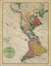 South America and America Map By Homann Heirs / Franz Ludwig Gussefeld