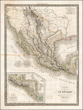 Texas, Southwest, Rocky Mountains, Mexico and California Map By Alexandre Emile Lapie