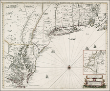 New England, Mid-Atlantic and Southeast Map By Robert Morden  &  Philip Lea  &  John Thornton