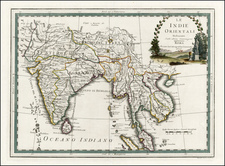 China, India and Southeast Asia Map By Giovanni Maria Cassini