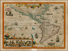 Western Hemisphere, South America, Australia & Oceania, Australia, Oceania and America Map By Jodocus Hondius